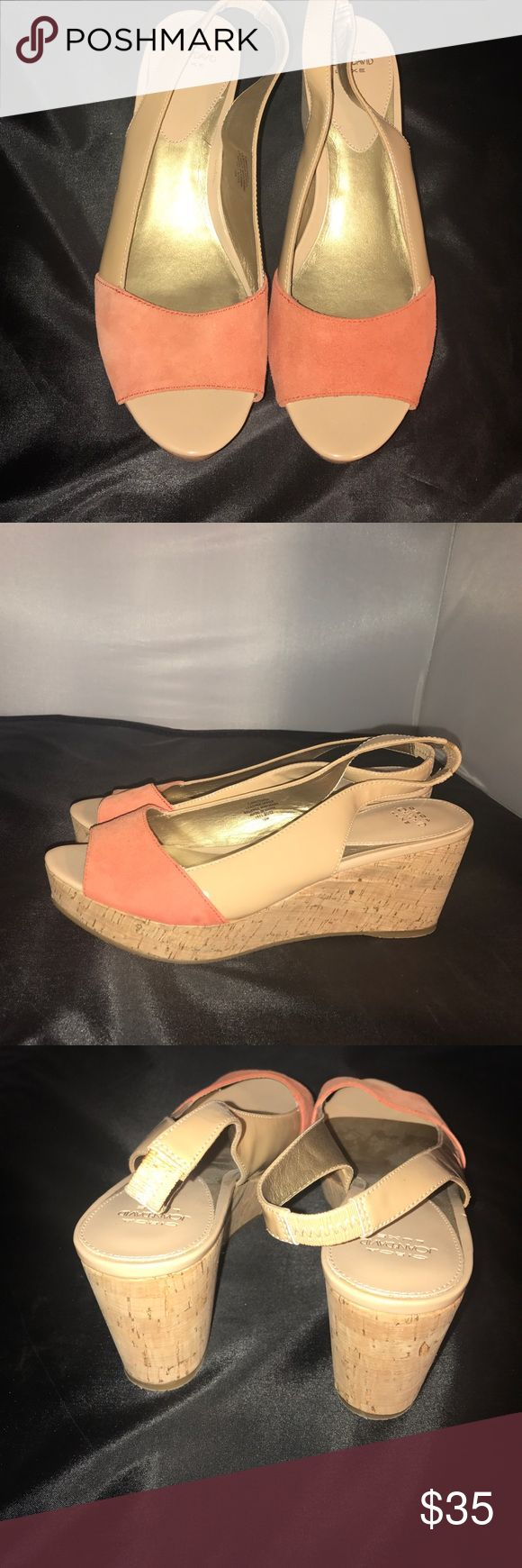 Joan & David Circa Luxe Open Toe Shoes Brand New These Joan & David Shoes feature a light orange - peachy suede , taupe patent leather and wedge cork sole. Brand New. Never Worn tags removed. Joan & David Shoes Wedges