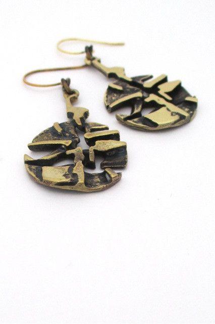 Jorma Laine, Finland - vintage bronze drop earrings #bronze #earrings #Finland