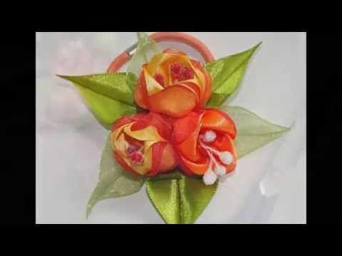 Цветы из лент тюльпаны мастер класс