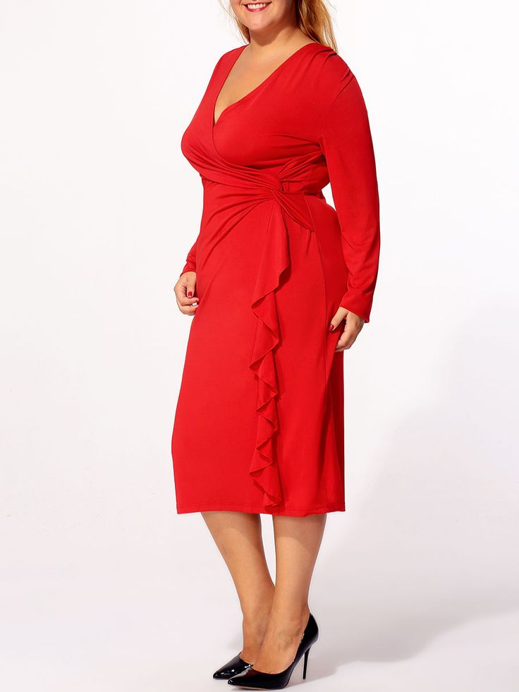 Buy Surplice Plain Cascading Ruffles Plus-size-bodycon-dress online with cheap prices and discover fashion Plus Size Bodycon Dresses at Fashionmia.com.