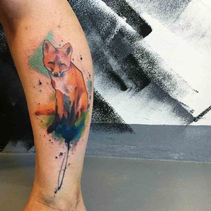 watercolor red fox tattoo