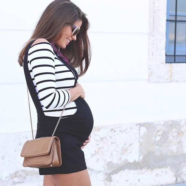 Casual Chic Pregnancy Outfit - Black Overall Shorts + Stripes