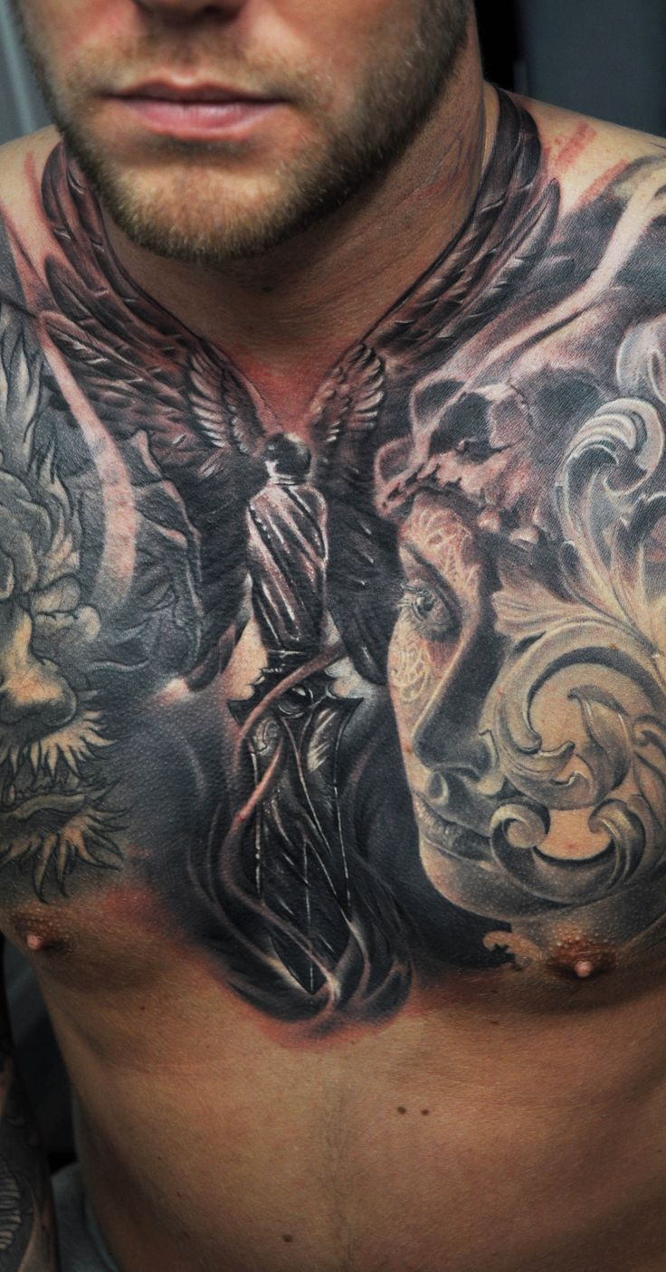 Freshly done (some time ago), black and gray knife with wings on mans chest.  #chesttattoo #tattoo #chest #knife #wings #portrait #woman #baroque #blackandgray #blackngray #riga #tattooinriga #sporta2 #tattooed #tattooist #tattooart #art #tattooink  #ink #inked #skin #tattooartist #tattoofrequency #share #like #follow