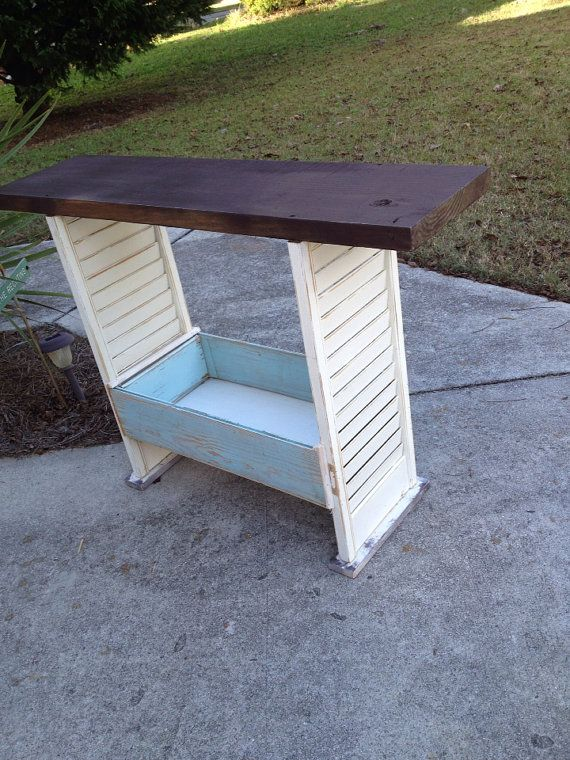 Shutter console table, bar cart, shabby chic table, Painted furniture