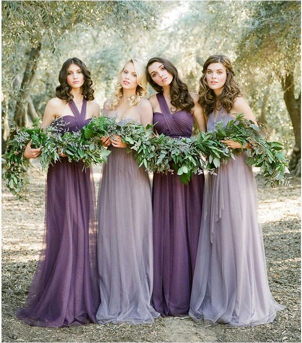 Eggplant purple with lilac, Bridesmaid dresses.