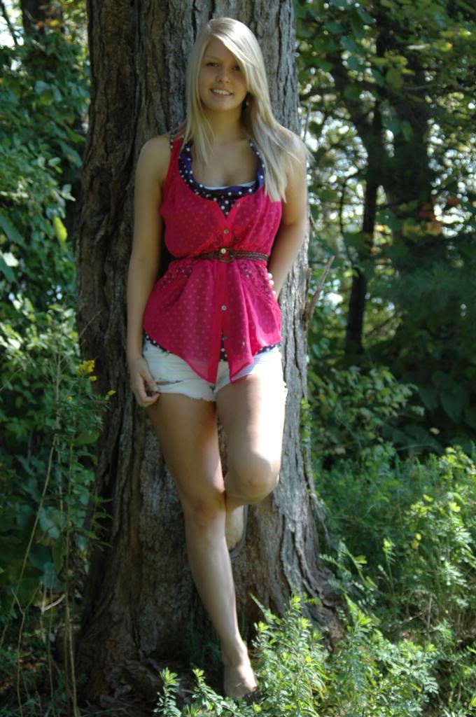 Senior Picture  Cute Outfit White Shorts Hot Pink Blue -8562