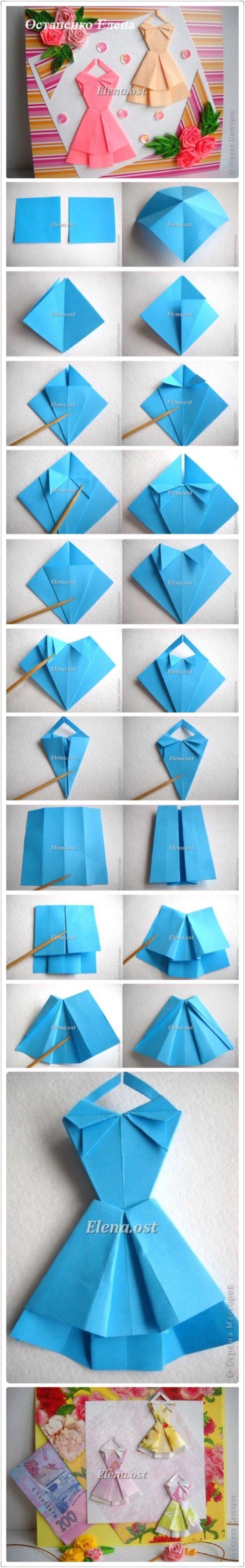 Kuvahaun tulos haulle origami dress card instructions