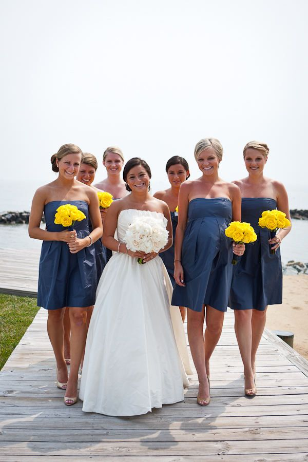 Navy and yellow. Love the color combination :): Nautical Wedding, Yellow Flowers, Idea, Bridesmaid Dresses, Bouquets, Navy Dress, Colors Schemes, Wedding Colors, The Dresses