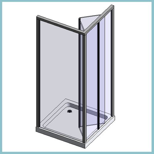 Bifold Door And Panel With Silver Effect Frame (Autodesk