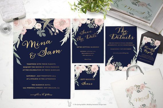 Floral Wedding Invitation  Printable Wedding by TheSpringRabbit