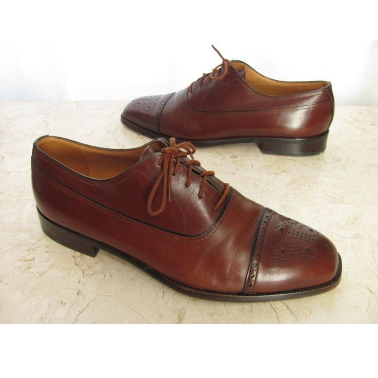 BALLY Mens Shoes 7.5 D Drake Brown Leather Cap Toe Wingtip Oxford Excellent! #Bally #Oxfords #Formal