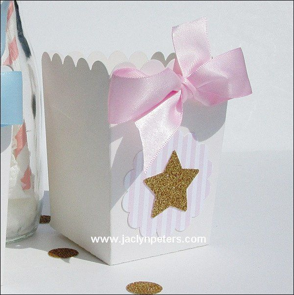 Twinkle twinkle twinkle little star popcorn boxes in pink and gold to add sparkle to your dessert table or party favor packaging. Perfect for baby showers or first birthday celebration! Each is hand m