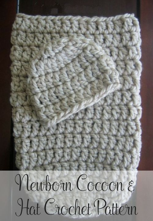 Free crochet pattern -- a cute and cozy crochet cocoon pattern that includes a matching crochet hat pattern. Newborn size. Perfect for new babies or as a photo prop! By Posh Patterns.
