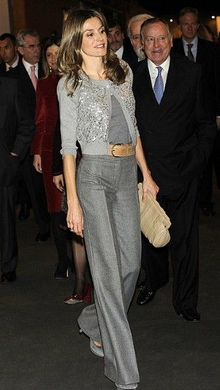 Princess Letizia of Spain, Charismatic Fashionista breaks the monochrome by pairing it with another neutral, interesting color combination: