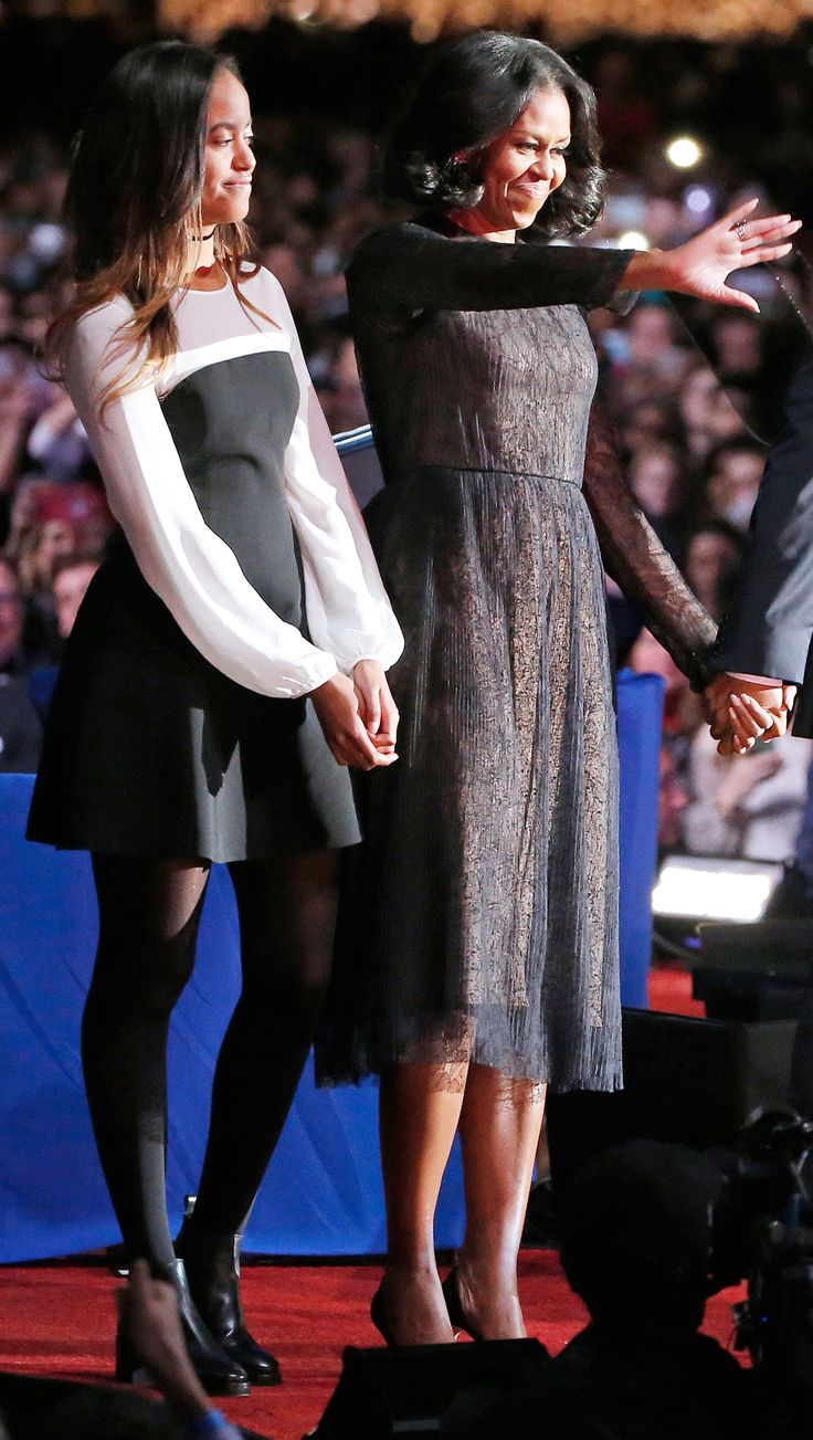 2017 For the president's farewell address in Chicago, Malia paired a colorblock Cinq à Sept dress ($395; bloomingdales.com) with black ankle boots and a matching choker.