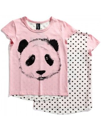 Minti | Painted Panda - Capped Tee - Pink
