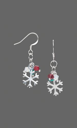Earrings with Swarovski Crystal Beads and Sterling Silver Snowflake Charms