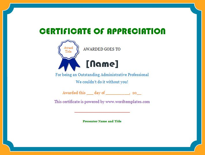 15 best images about Certificates – Certificate of Appreciation Word Template