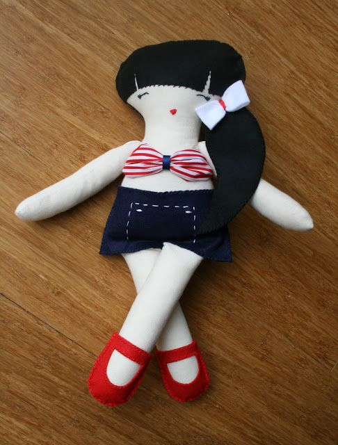 Retro swimmer cloth doll pattern by Luz Patterns