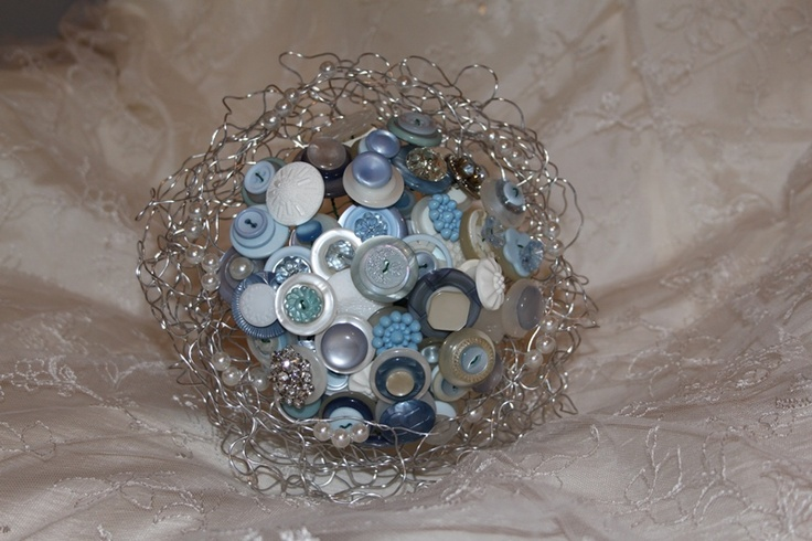 Cornflower blue and silver button bouquets - Forever button bouquets