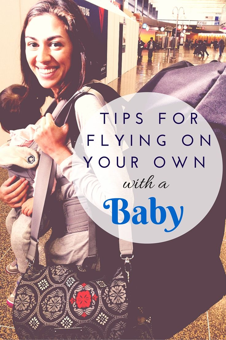 Flying on your own with a baby? This post has lots of tips to help make it easier, covering everything from going through the airport to entertaining a lap baby in close quarters during the flight.