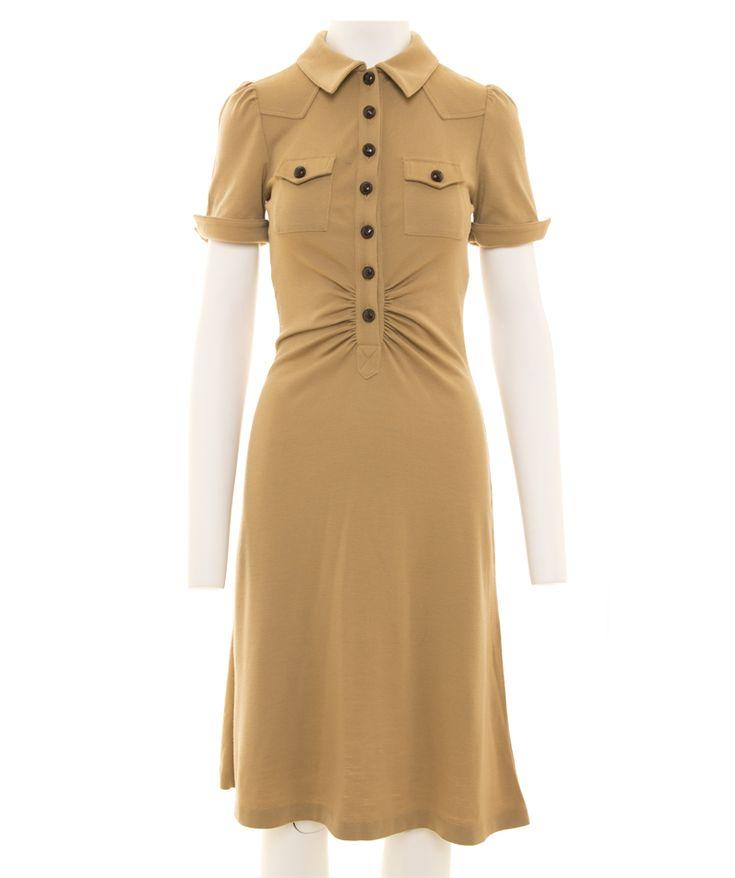 Diane von Furstenberg Camel Wool Midi Shirt Dress