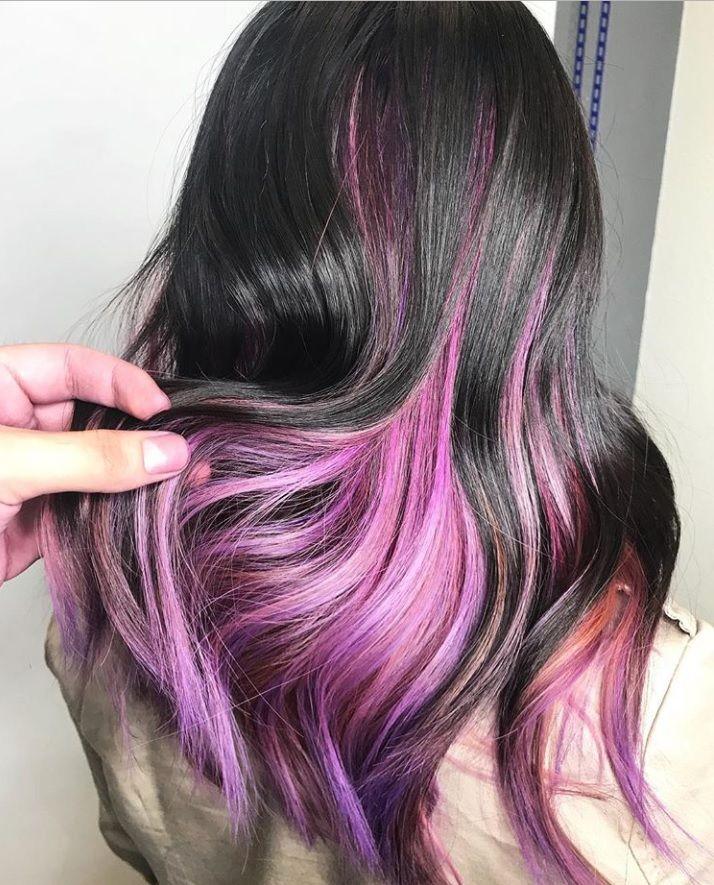 pink purple pastel peekaboo highlights
