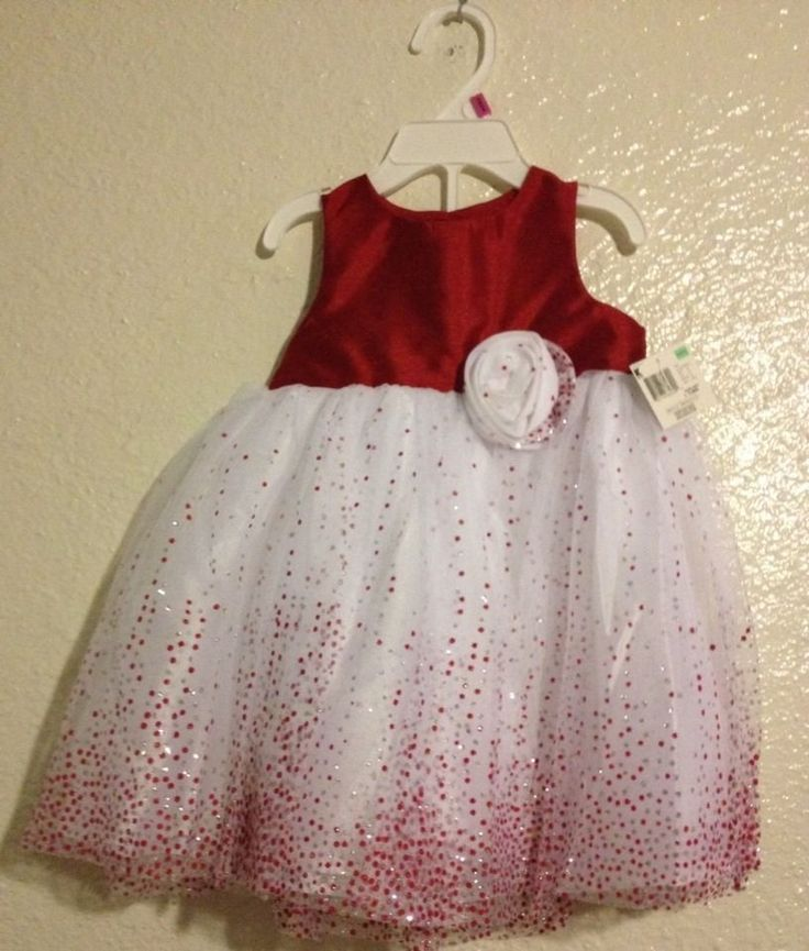 Girls red bling white silver glitter pageant christmas holiday dress