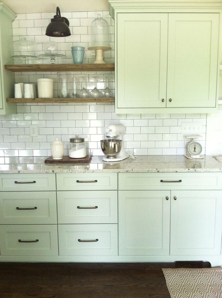 Nice cabinet color and full wall of subway tile with open for Kitchen cabinet shelves
