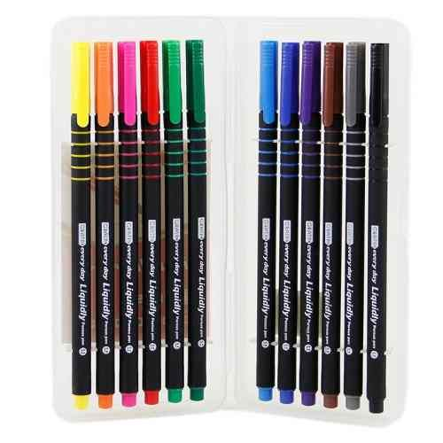 estojo com 12 canetas hidrográficas ponta fina 0,4mm