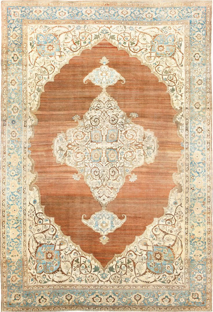 Beautiful and Rare Large Cotton Antique Tabriz Persian Rug 48815