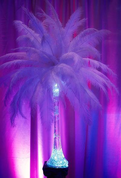 Neon feathers!: Neon Feathers, Ostriches Feathers, Neon Parties Centerpieces, Centerpieces Purple, Purple Neon, Black White, White Feathers Centerpieces, Wedding Centerpieces, Center Piece