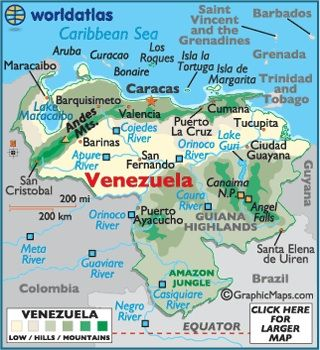 Map of Venezuela.