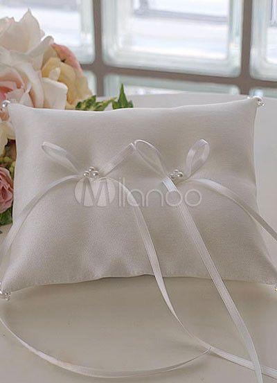 Perle raso bianco archi doppio anello portatore cuscino MILANOO