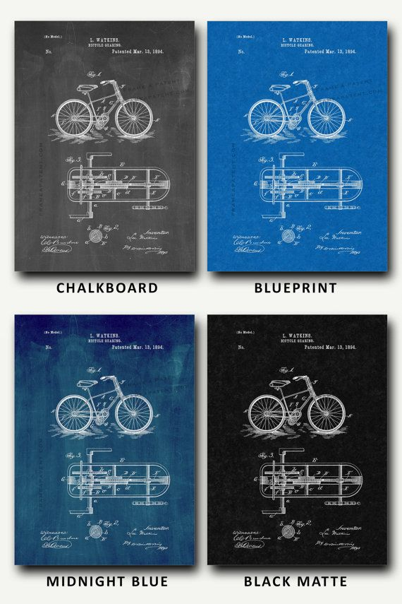 Patent Print Bicycle Gearing Patent Wall Art by FrameAPatent