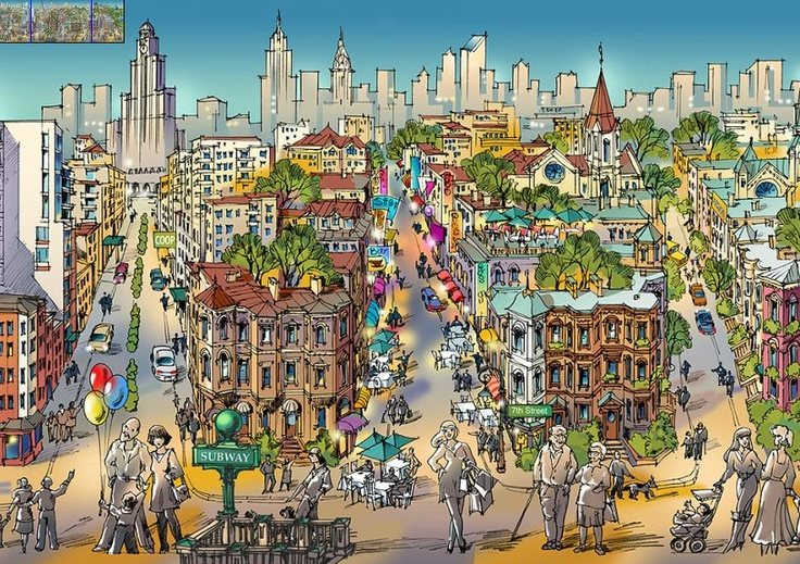 Park Slope - Beautiful illustrative Maps by Maria Rabinky