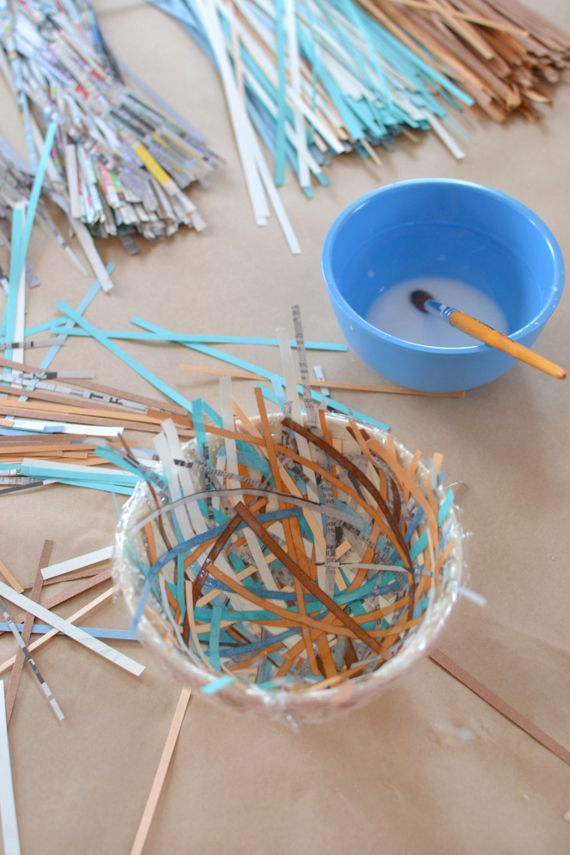 Make bird nests from recycled paper. The perfect art activity for easter baskets or springtime. Via art bar