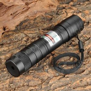 5mW 532nm Green Military Laser Pointer w/ 16340 Battery / Charger - Black