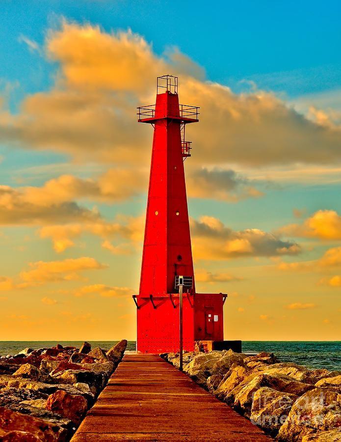 Muskegon South Pierhead Light, Michigan  www.liberatingdivineconsciousness.com
