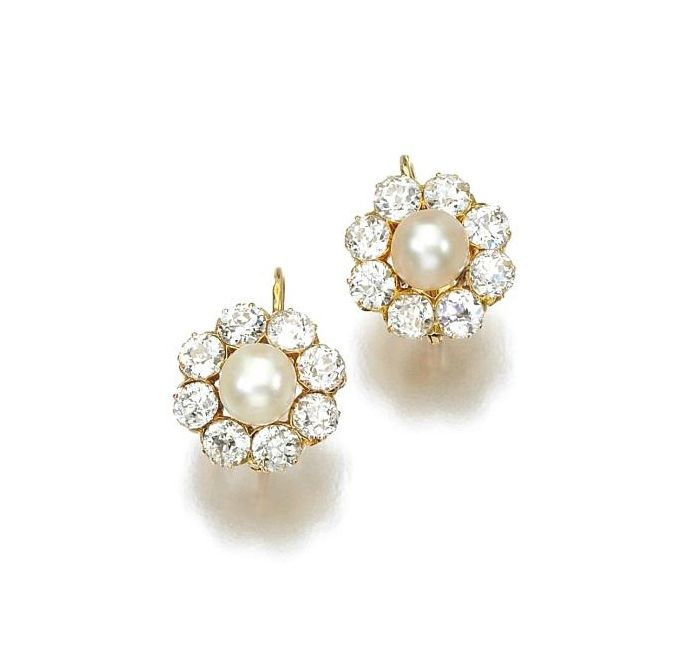 Pair of natural pearl and diamond earrings, late 19th century