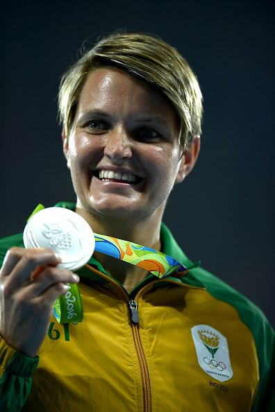 Silver medalist Sunette Viljoen of South Africa poses on the podium during the…