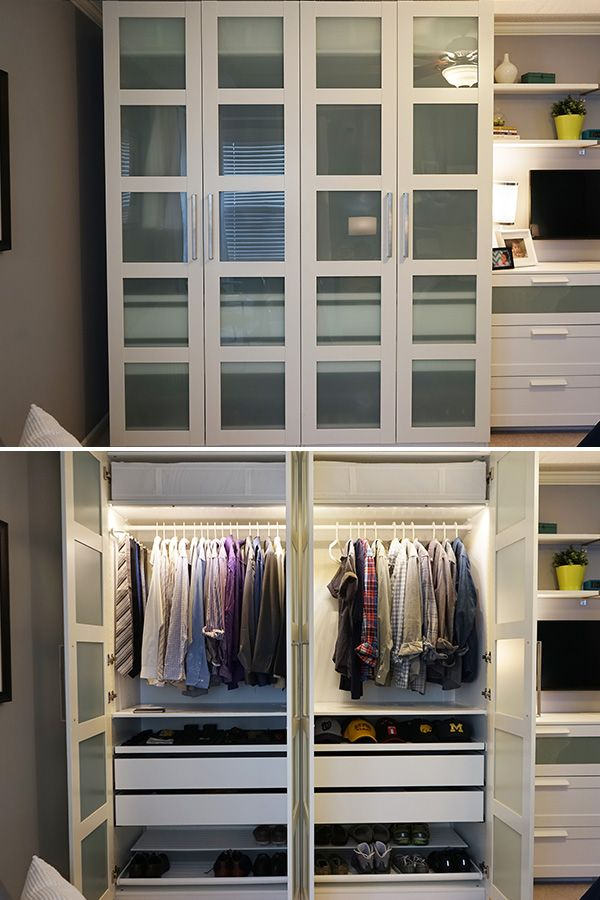 The Ikea Home Tour Squad Built A Custom Pax Wardrobe In Their Bedroom Storage Makeover To Maximize Storage Space Bonus Pa Ikea Home Tour Makeovers