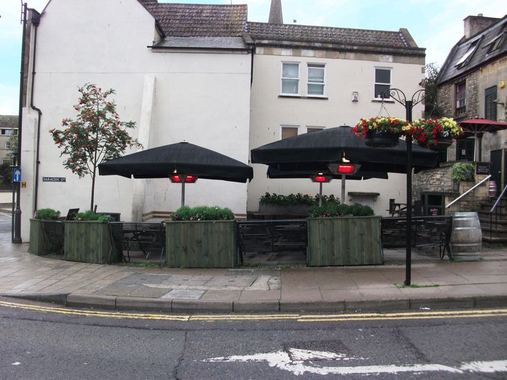 giant umbrellas installed at the pig and fiddle bath for more information visit: metre giant umbrella