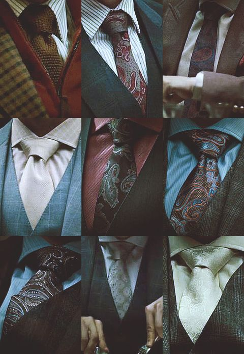 the suits and tie style details from the TV series Hannibal, costumes worn by Hannibal Lecter