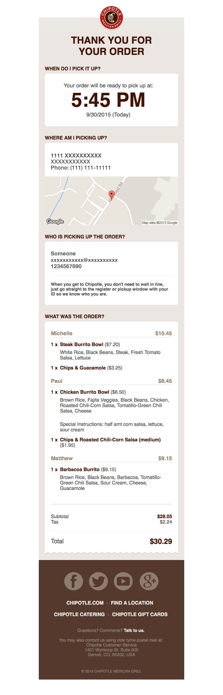 @chipotlemg  sent this email with the subject line: Thank you for ordering - Oh man! This is such a great piece of simple design. I get to know precisely when I should pick up my tasty food. This is an email that serves y'all! That's my favorite kind of email. Read about this email and find more transactional emails at ReallyGoodEmails.com #ecommerce #receipt #transactional