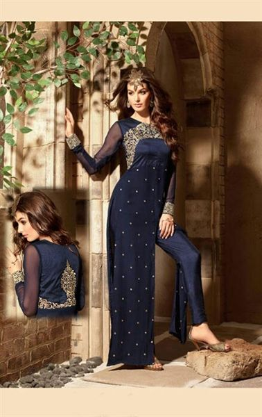 Melodic Midnight Blue Designer Pant Kameez Set