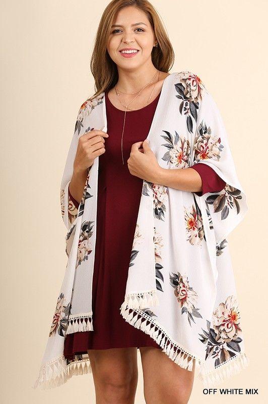 Kelly Brett Boutique - Plus Size Floral Fringe Kimono Off White, $38.00 (https://www.kellybrettboutique.com/plus-size-floral-fringe-kimono-off-white/)