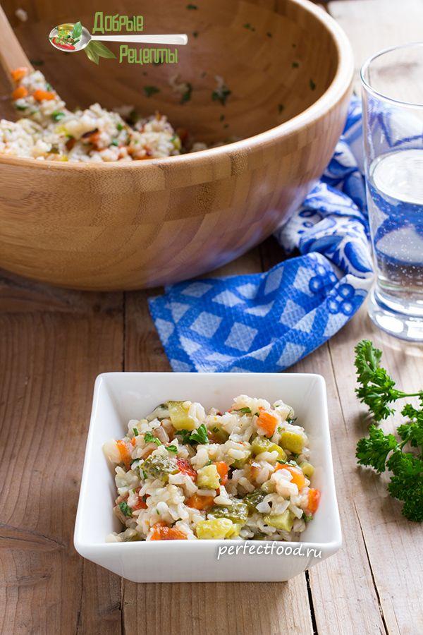 Тёплый рисовый салат — рецепт с фото и видео | Добрые вегетарианские рецепты с фото и видео