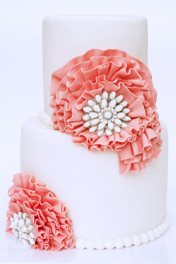 59 best Coral Pink Wedding Cakes images on Pinterest Pink