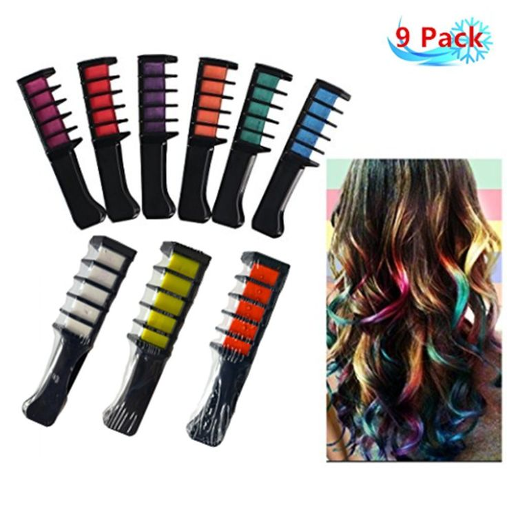 Petansy 9 Colors Hair Color Comb Temporary Hair Chalk Hair Color Cream for Party Fans Cosplay DIY >>> More info could be found at the image url. #hairstyle